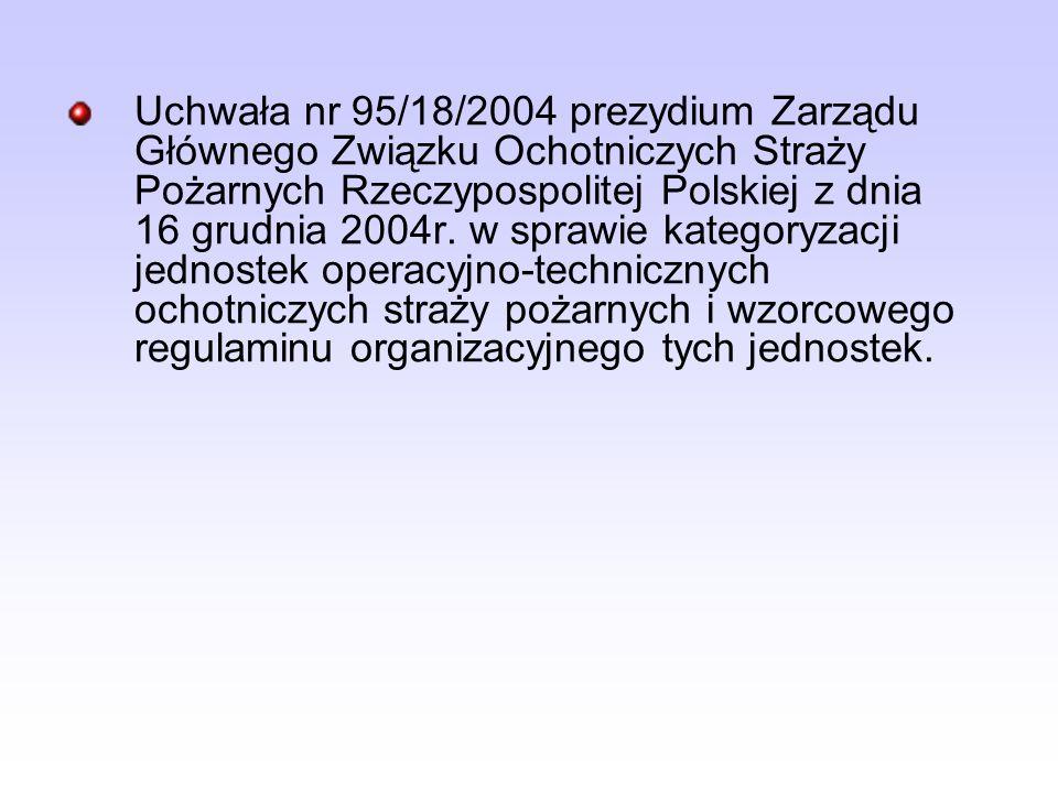 Uchwała nr 95/18/2004 prezydium Zarządu Głównego Związku Ochotniczych Straży Pożarnych Rzeczypospolitej Polskiej z dnia 16 grudnia 2004r. w sprawie ka