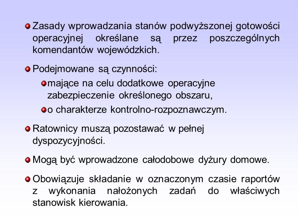 Zasady wprowadzania stanów podwyższonej gotowości operacyjnej określane są przez poszczególnych komendantów wojewódzkich. Podejmowane są czynności: ma