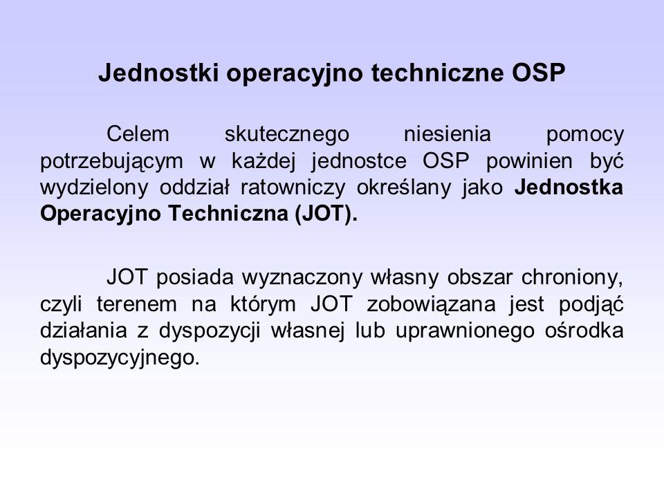 Jednostki operacyjno techniczne OSP Celem skutecznego niesienia pomocy potrzebującym w każdej jednostce OSP powinien być wydzielony oddział ratowniczy