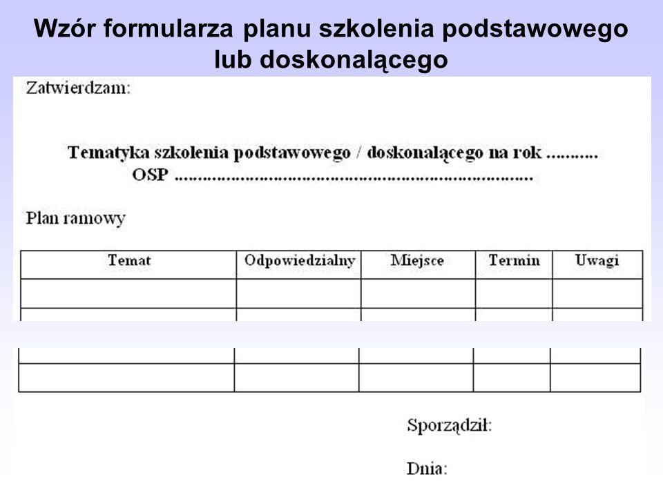 Wzór formularza planu szkolenia podstawowego lub doskonalącego