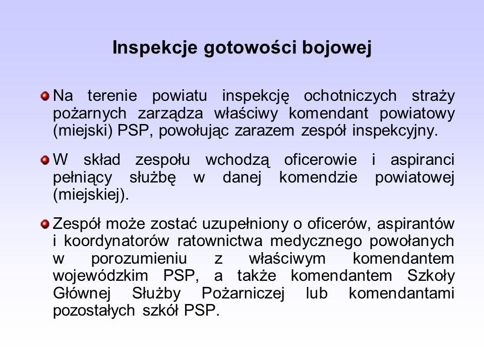 Inspekcje gotowości bojowej Na terenie powiatu inspekcję ochotniczych straży pożarnych zarządza właściwy komendant powiatowy (miejski) PSP, powołując zarazem zespół inspekcyjny.