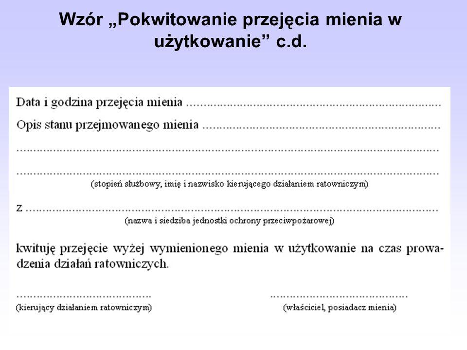 Wzór Pokwitowanie przejęcia mienia w użytkowanie c.d.