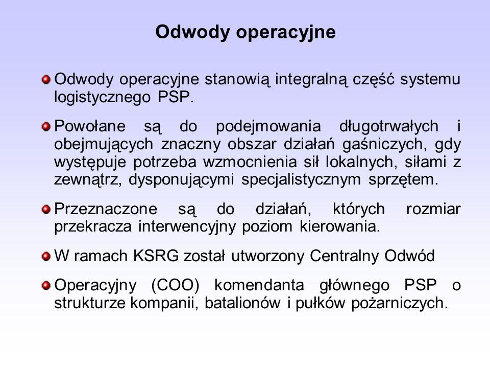 Odwody operacyjne Odwody operacyjne stanowią integralną część systemu logistycznego PSP. Powołane są do podejmowania długotrwałych i obejmujących znac