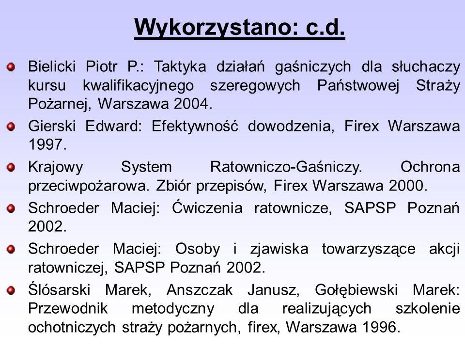 Wykorzystano: c.d. Bielicki Piotr P.: Taktyka działań gaśniczych dla słuchaczy kursu kwalifikacyjnego szeregowych Państwowej Straży Pożarnej, Warszawa