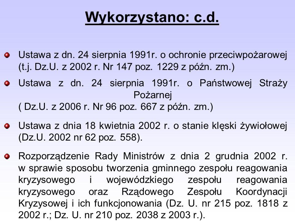 Ustawa z dn. 24 sierpnia 1991r. o ochronie przeciwpożarowej (t.j. Dz.U. z 2002 r. Nr 147 poz. 1229 z późn. zm.) Ustawa z dn. 24 sierpnia 1991r. o Pańs