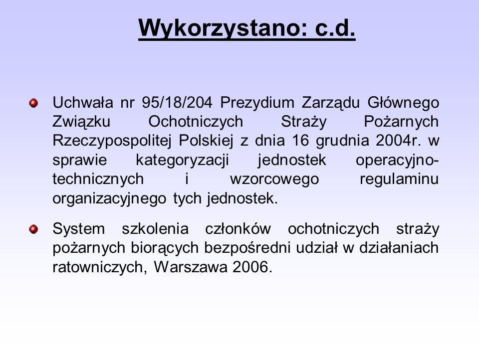 Uchwała nr 95/18/204 Prezydium Zarządu Głównego Związku Ochotniczych Straży Pożarnych Rzeczypospolitej Polskiej z dnia 16 grudnia 2004r. w sprawie kat