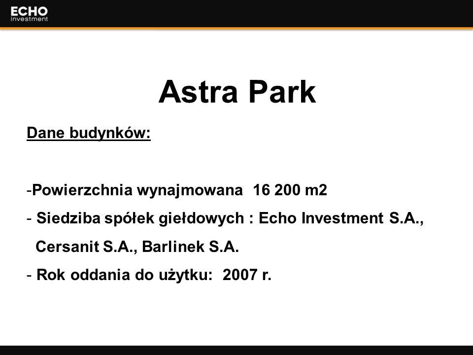 4 Astra Park Dane budynków: -Powierzchnia wynajmowana 16 200 m2 - Siedziba spółek giełdowych : Echo Investment S.A., Cersanit S.A., Barlinek S.A. - Ro
