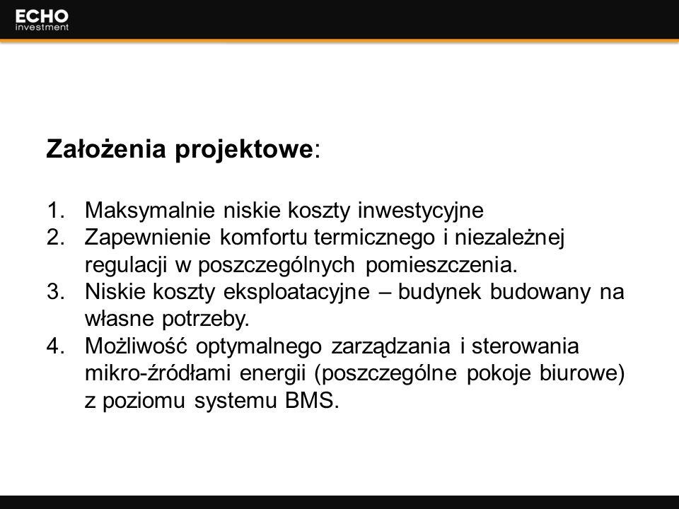 6 Założenia projektowe: 1.Maksymalnie niskie koszty inwestycyjne 2.Zapewnienie komfortu termicznego i niezależnej regulacji w poszczególnych pomieszcz