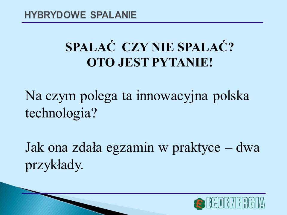 HYBRYDOWE SPALANIE SPALAĆ CZY NIE SPALAĆ? OTO JEST PYTANIE! Na czym polega ta innowacyjna polska technologia? Jak ona zdała egzamin w praktyce – dwa p