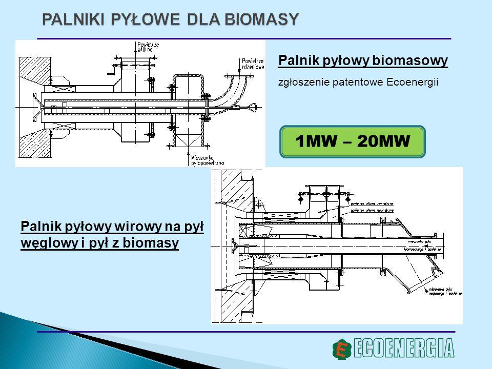 Palnik pyłowy biomasowy zgłoszenie patentowe Ecoenergii Palnik pyłowy wirowy na pył węglowy i pył z biomasy 1MW – 20MW
