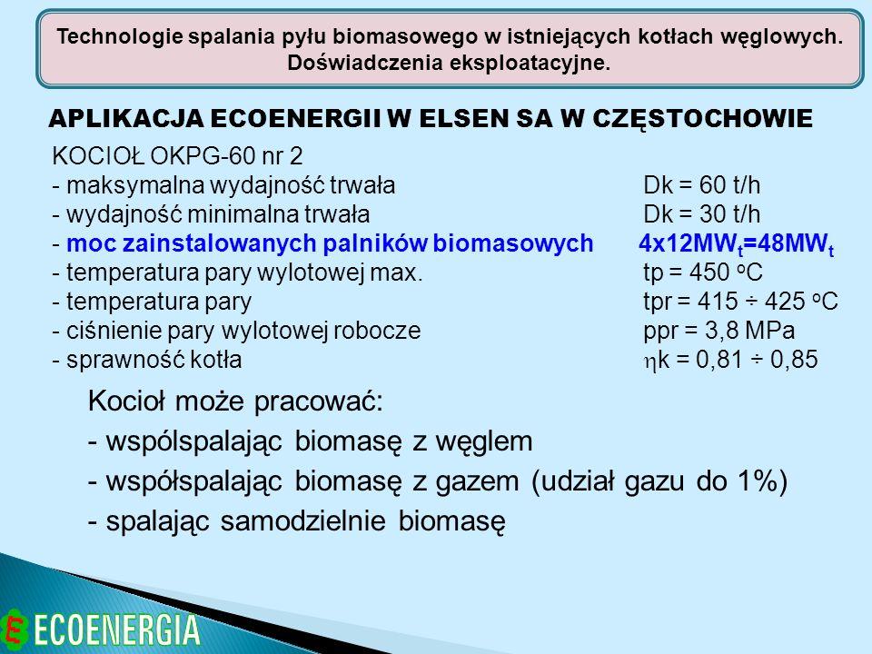 APLIKACJA ECOENERGII W ELSEN SA W CZĘSTOCHOWIE KOCIOŁ OKPG-60 nr 2 - maksymalna wydajność trwała Dk = 60 t/h - wydajność minimalna trwała Dk = 30 t/h