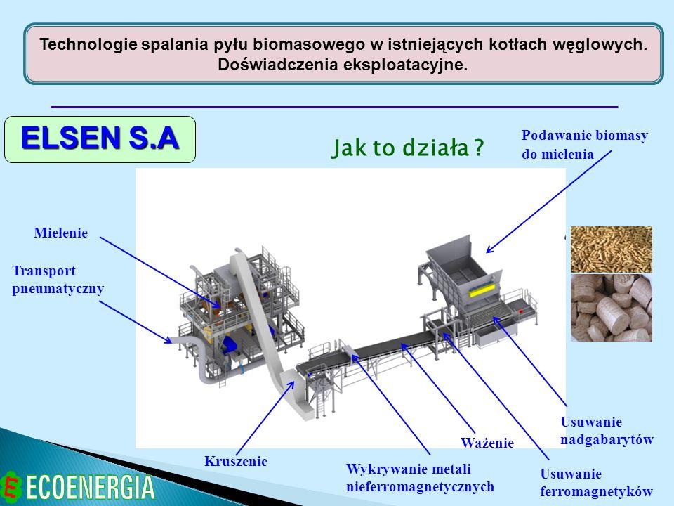 ELSEN S.A Jak to działa ? Podawanie biomasy do mielenia Usuwanie nadgabarytów Usuwanie ferromagnetyków Ważenie Wykrywanie metali nieferromagnetycznych