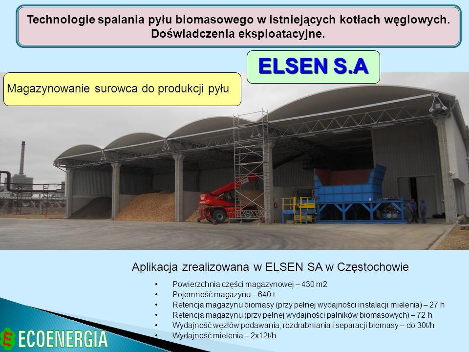 Magazynowanie surowca do produkcji pyłu Aplikacja zrealizowana w ELSEN SA w Częstochowie Powierzchnia części magazynowej – 430 m2 Pojemność magazynu –