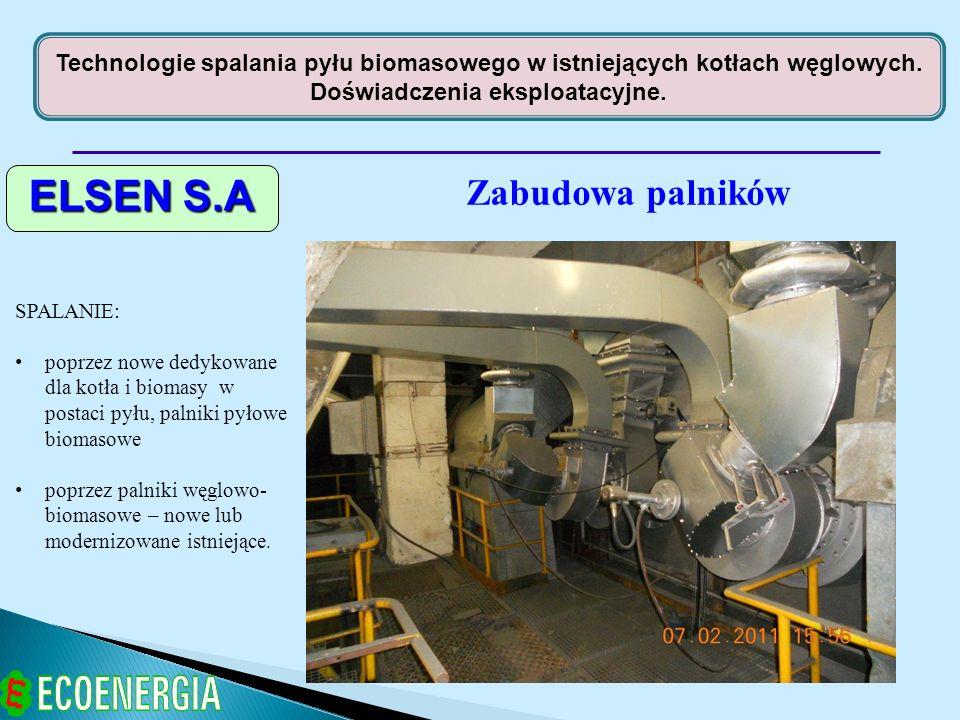 Technologie spalania pyłu biomasowego w istniejących kotłach węglowych. Doświadczenia eksploatacyjne. ELSEN S.A Zabudowa palników SPALANIE: poprzez no