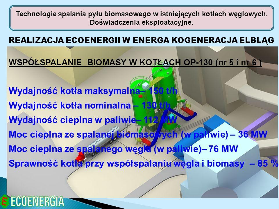 REALIZACJA ECOENERGII W ENERGA KOGENERACJA ELBLĄG WSPÓŁSPALANIE BIOMASY W KOTŁACH OP-130 (nr 5 i nr 6 ) Wydajność kotła maksymalna– 150 t/h Wydajność