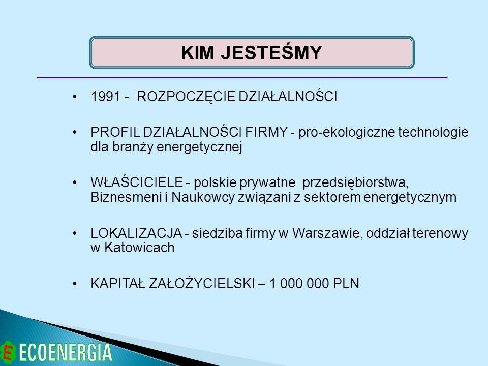 1991 - ROZPOCZĘCIE DZIAŁALNOŚCI PROFIL DZIAŁALNOŚCI FIRMY - pro-ekologiczne technologie dla branży energetycznej WŁAŚCICIELE - polskie prywatne przeds