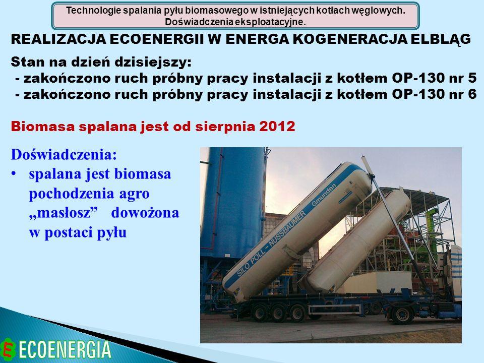 REALIZACJA ECOENERGII W ENERGA KOGENERACJA ELBLĄG Stan na dzień dzisiejszy: - zakończono ruch próbny pracy instalacji z kotłem OP-130 nr 5 - zakończon