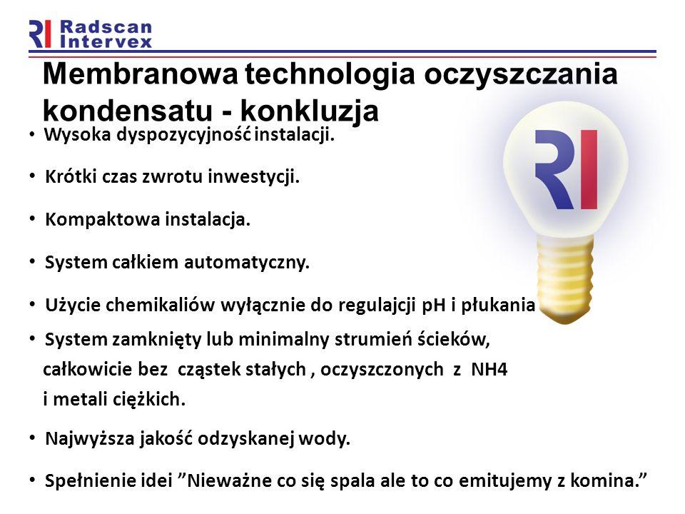Membranowa technologia oczyszczania kondensatu - konkluzja Wysoka dyspozycyjność instalacji. Krótki czas zwrotu inwestycji. Kompaktowa instalacja. Sys