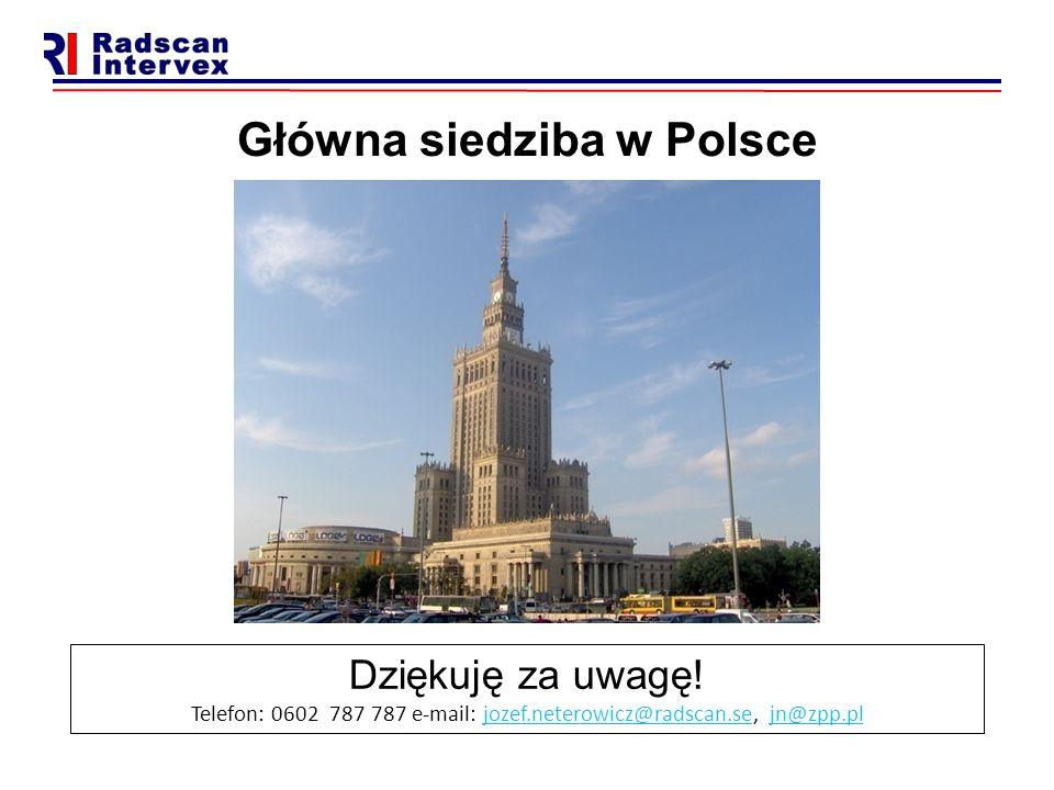 Główna siedziba w Polsce Dziękuję za uwagę! Telefon: 0602 787 787 e-mail: jozef.neterowicz@radscan.se, jn@zpp.pljozef.neterowicz@radscan.sejn@zpp.pl