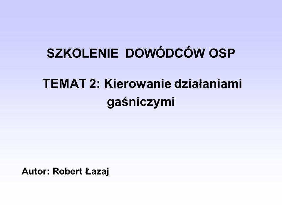 SZKOLENIE DOWÓDCÓW OSP TEMAT 2: Kierowanie działaniami gaśniczymi Autor: Robert Łazaj