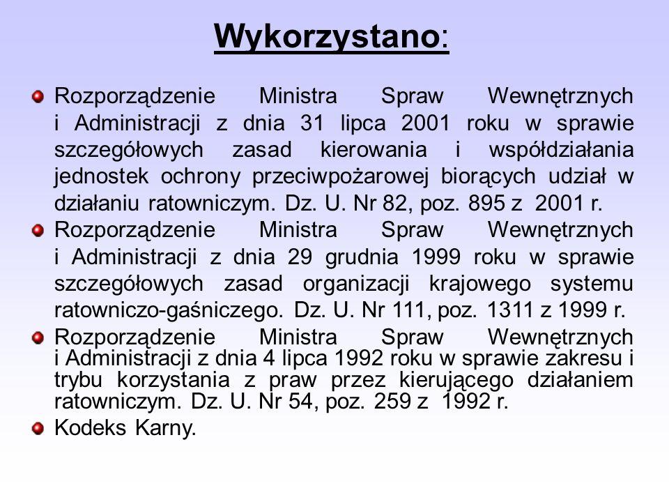 Wykorzystano: Rozporządzenie Ministra Spraw Wewnętrznych i Administracji z dnia 31 lipca 2001 roku w sprawie szczegółowych zasad kierowania i współdzi