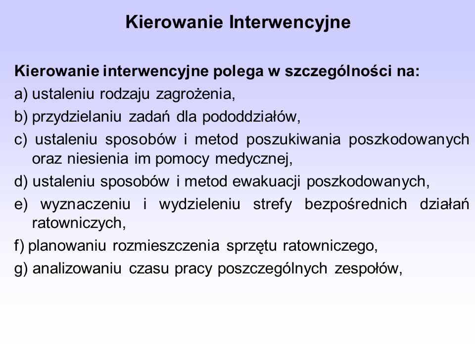 Kierowanie Interwencyjne Kierowanie interwencyjne polega w szczególności na: a)ustaleniu rodzaju zagrożenia, b)przydzielaniu zadań dla pododdziałów, c