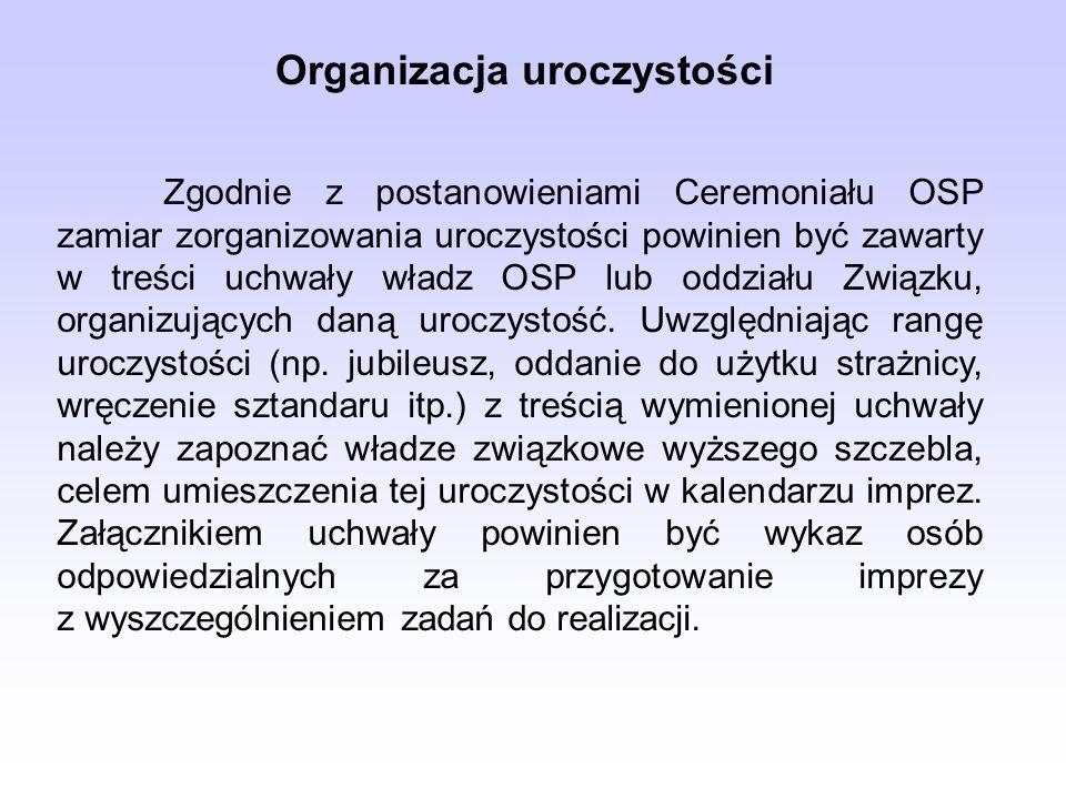 Zgodnie z postanowieniami Ceremoniału OSP zamiar zorganizowania uroczystości powinien być zawarty w treści uchwały władz OSP lub oddziału Związku, org