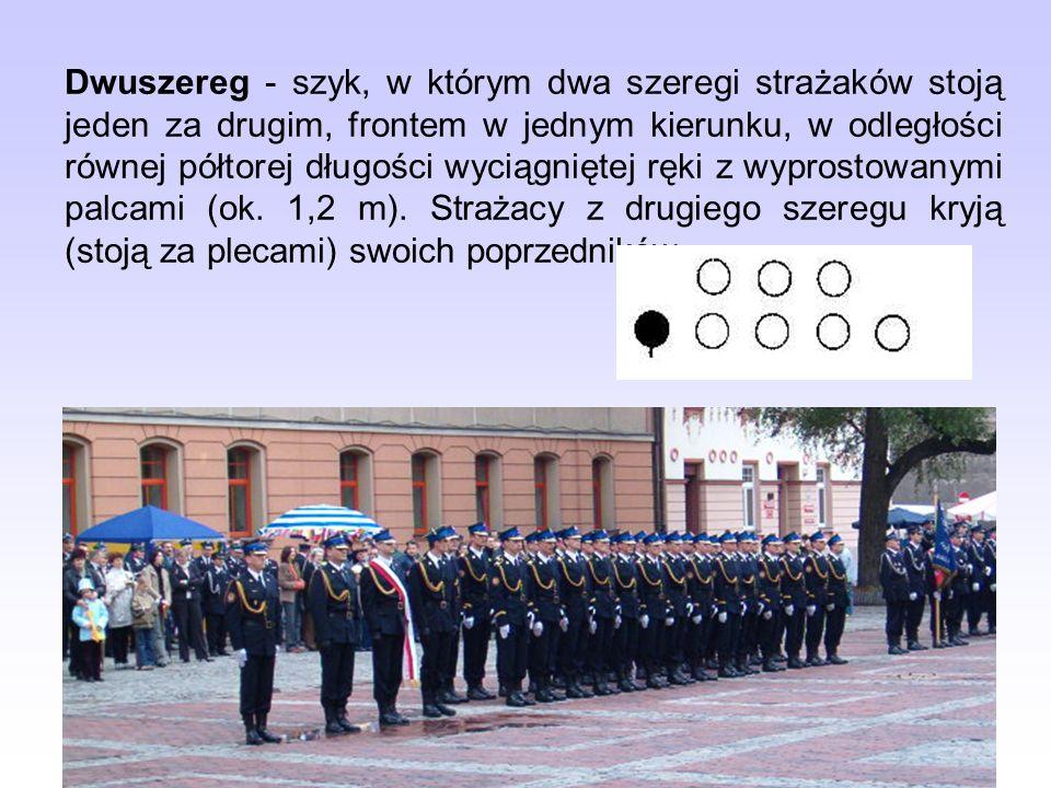 Kolumna - szyk, w którym strażacy stojąc jeden za drugim tworzą rząd (kolumnę pojedynczą) lub dwa i więcej rzędów (kolumnę dwójkową, czwórkową) frontem w jednym kierunku.