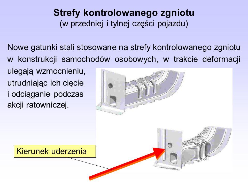 Strefy kontrolowanego zgniotu (w przedniej i tylnej części pojazdu) Nowe gatunki stali stosowane na strefy kontrolowanego zgniotu w konstrukcji samoch