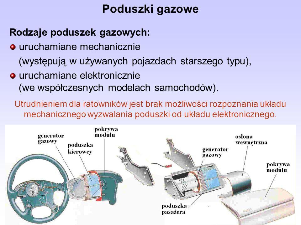 Poduszki gazowe Rodzaje poduszek gazowych: uruchamiane mechanicznie (występują w używanych pojazdach starszego typu), uruchamiane elektronicznie (we w