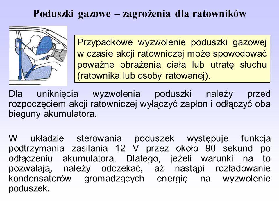 Poduszki gazowe – zagrożenia dla ratowników Dla uniknięcia wyzwolenia poduszki należy przed rozpoczęciem akcji ratowniczej wyłączyć zapłon i odłączyć