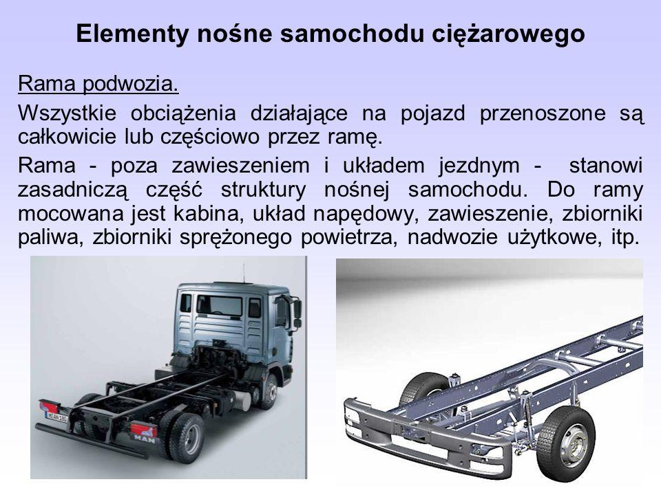 Elementy nośne samochodu ciężarowego Rama podwozia. Wszystkie obciążenia działające na pojazd przenoszone są całkowicie lub częściowo przez ramę. Rama