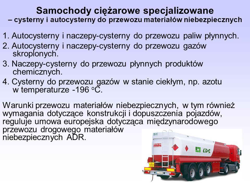 Samochody ciężarowe specjalizowane – cysterny i autocysterny do przewozu materiałów niebezpiecznych 1. Autocysterny i naczepy-cysterny do przewozu pal
