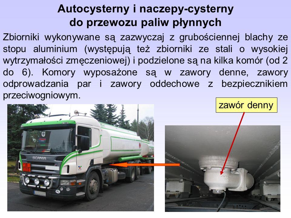 Autocysterny i naczepy-cysterny do przewozu paliw płynnych Zbiorniki wykonywane są zazwyczaj z grubościennej blachy ze stopu aluminium (występują też