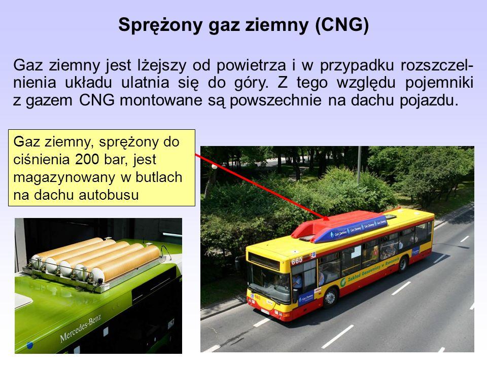Sprężony gaz ziemny (CNG) Gaz ziemny jest lżejszy od powietrza i w przypadku rozszczel- nienia układu ulatnia się do góry. Z tego względu pojemniki z