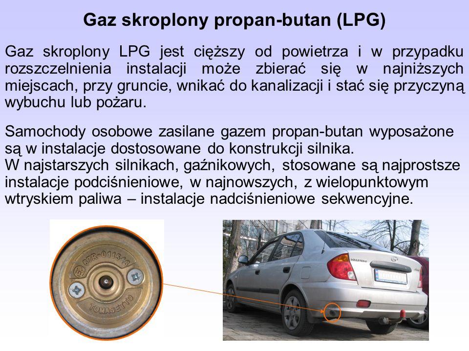 Gaz skroplony propan-butan (LPG) Gaz skroplony LPG jest cięższy od powietrza i w przypadku rozszczelnienia instalacji może zbierać się w najniższych m