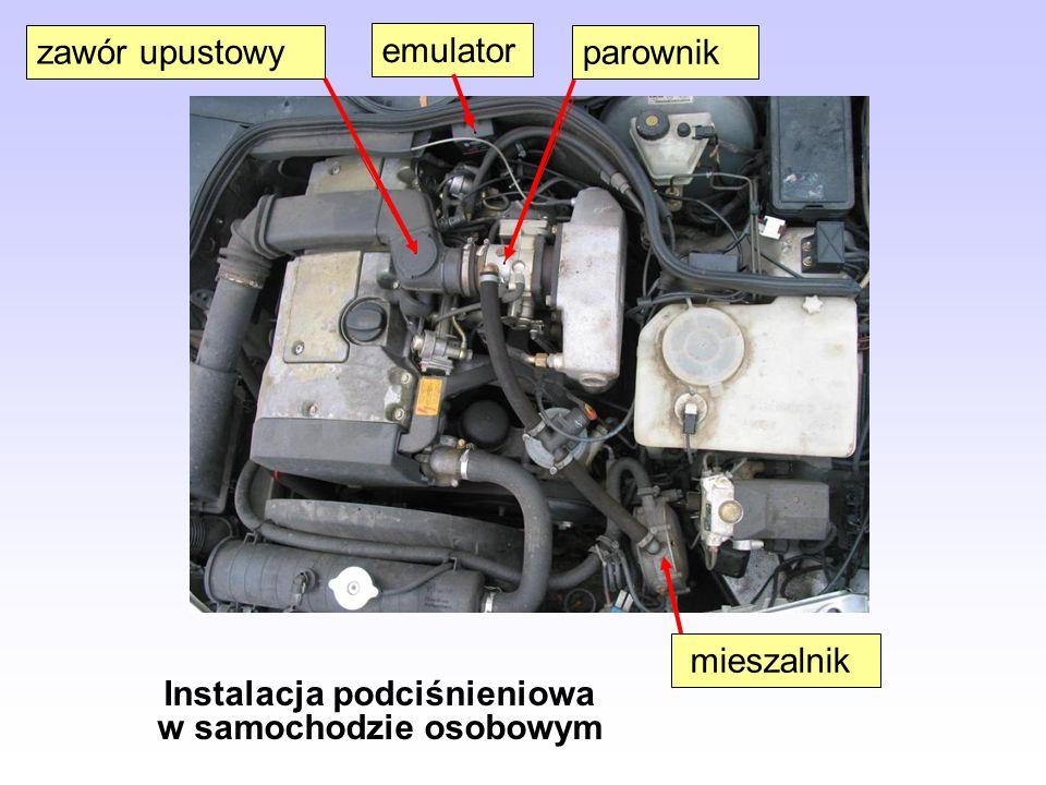 Instalacja podciśnieniowa w samochodzie osobowym mieszalnik parownik emulator zawór upustowy