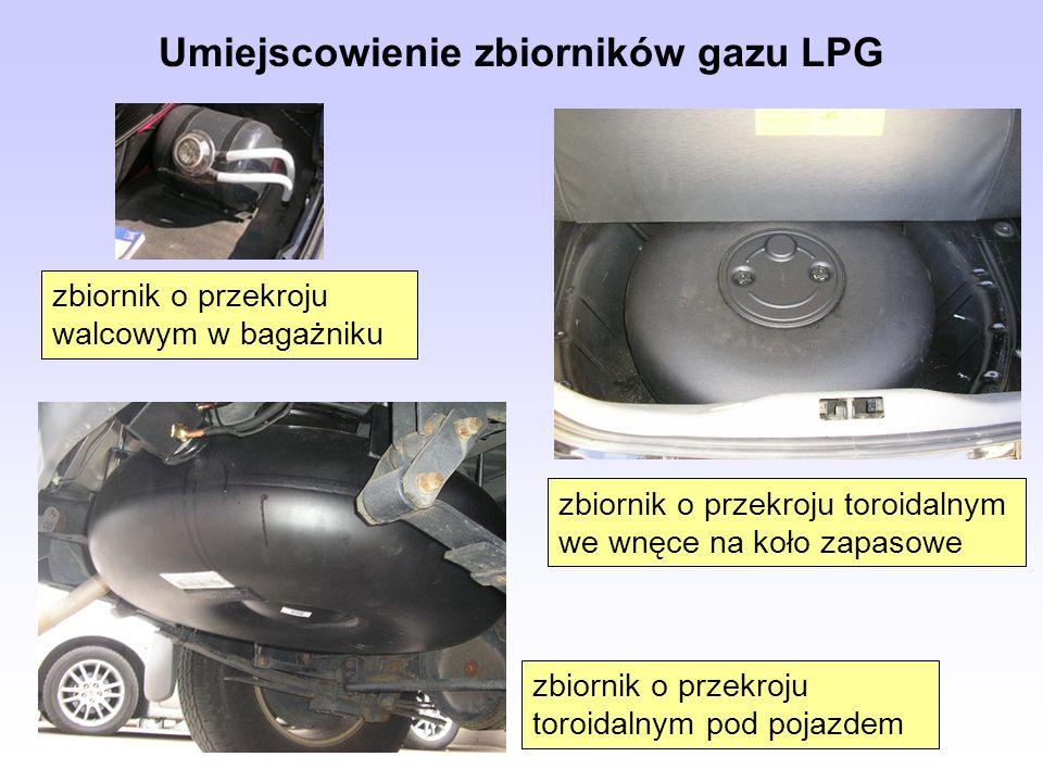 Umiejscowienie zbiorników gazu LPG zbiornik o przekroju toroidalnym we wnęce na koło zapasowe zbiornik o przekroju walcowym w bagażniku zbiornik o prz