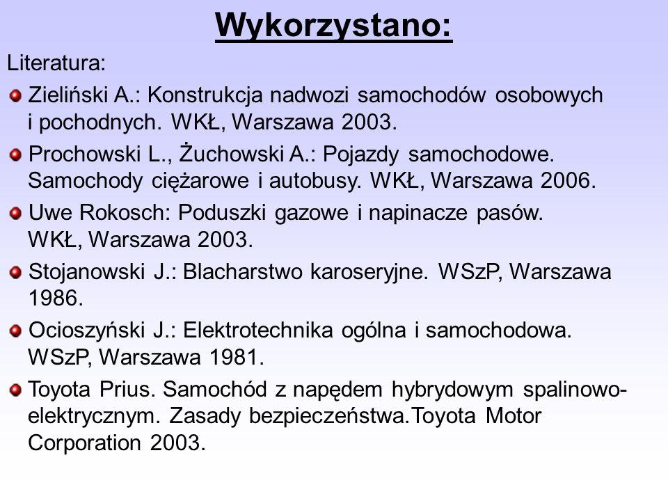 Wykorzystano: Literatura: Zieliński A.: Konstrukcja nadwozi samochodów osobowych i pochodnych. WKŁ, Warszawa 2003. Prochowski L., Żuchowski A.: Pojazd
