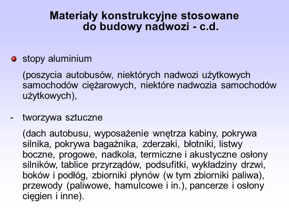 Materiały konstrukcyjne stosowane do budowy nadwozi - c.d. stopy aluminium (poszycia autobusów, niektórych nadwozi użytkowych samochodów ciężarowych,