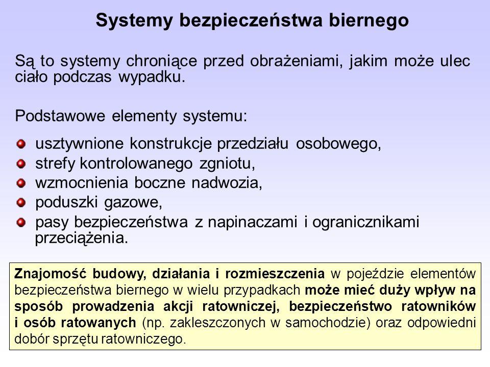 Systemy bezpieczeństwa biernego Są to systemy chroniące przed obrażeniami, jakim może ulec ciało podczas wypadku. Podstawowe elementy systemu: usztywn