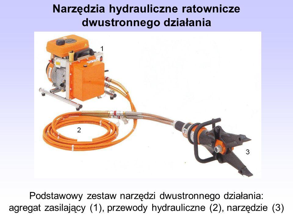 Podstawowy zestaw narzędzi dwustronnego działania: agregat zasilający (1), przewody hydrauliczne (2), narzędzie (3) Narzędzia hydrauliczne ratownicze