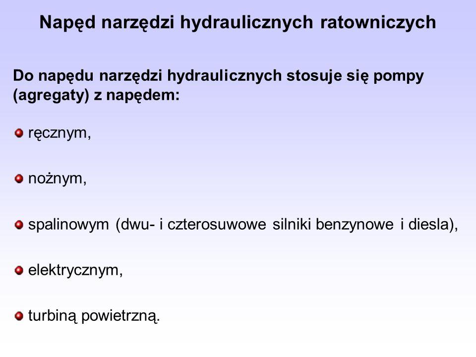 Do napędu narzędzi hydraulicznych stosuje się pompy (agregaty) z napędem: ręcznym, nożnym, spalinowym (dwu- i czterosuwowe silniki benzynowe i diesla)