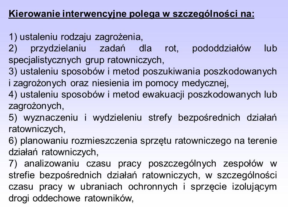 Kierowanie interwencyjne polega w szczególności na: 1) ustaleniu rodzaju zagrożenia, 2) przydzielaniu zadań dla rot, pododdziałów lub specjalistycznyc