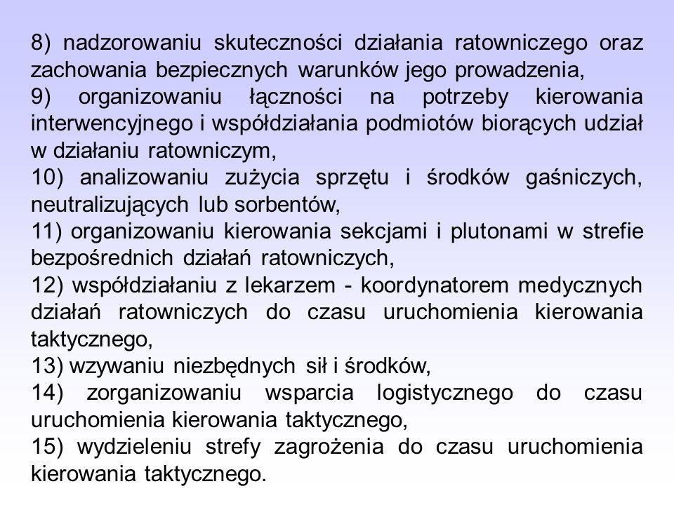 8) nadzorowaniu skuteczności działania ratowniczego oraz zachowania bezpiecznych warunków jego prowadzenia, 9) organizowaniu łączności na potrzeby kie