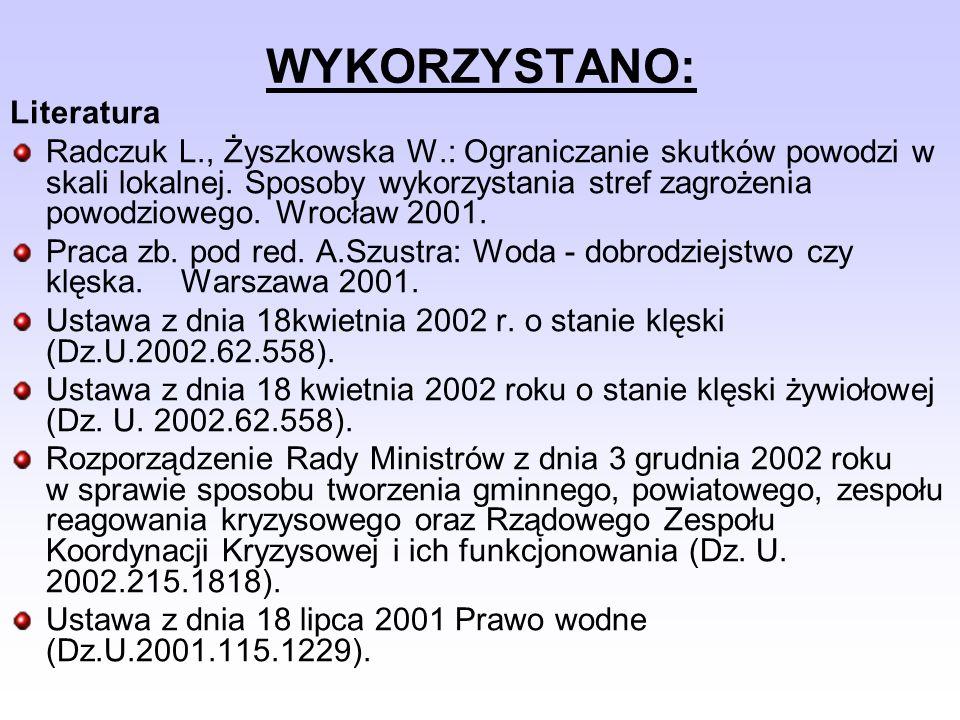 WYKORZYSTANO: Literatura Radczuk L., Żyszkowska W.: Ograniczanie skutków powodzi w skali lokalnej. Sposoby wykorzystania stref zagrożenia powodziowego
