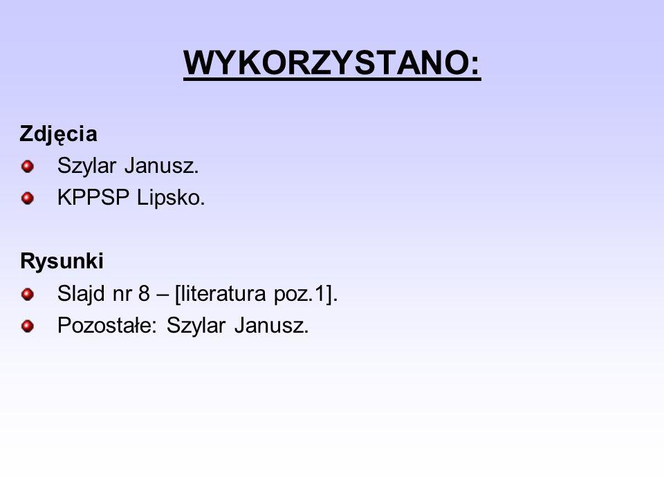 WYKORZYSTANO: Zdjęcia Szylar Janusz. KPPSP Lipsko. Rysunki Slajd nr 8 – [literatura poz.1]. Pozostałe: Szylar Janusz.
