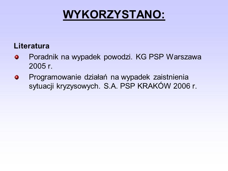 WYKORZYSTANO: Literatura Poradnik na wypadek powodzi. KG PSP Warszawa 2005 r. Programowanie działań na wypadek zaistnienia sytuacji kryzysowych. S.A.