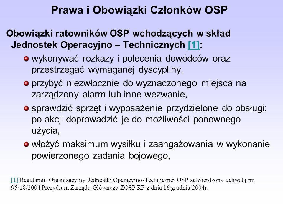 Prawa i Obowiązki Członków OSP Obowiązki ratowników OSP wchodzących w skład Jednostek Operacyjno – Technicznych [1]:[1] wykonywać rozkazy i polecenia