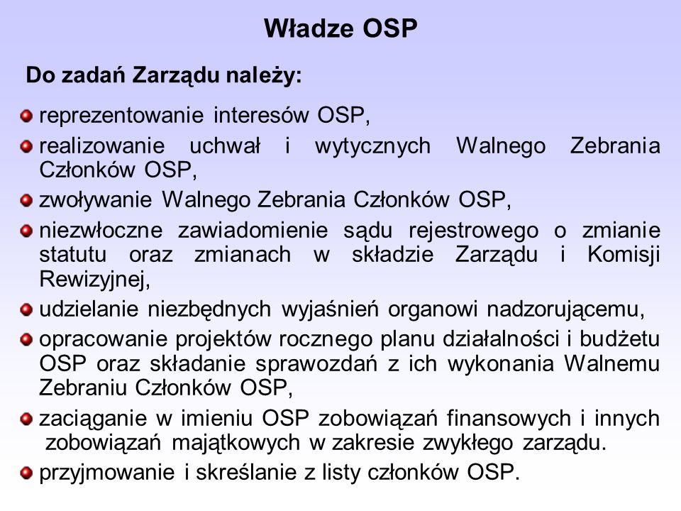 reprezentowanie interesów OSP, realizowanie uchwał i wytycznych Walnego Zebrania Członków OSP, zwoływanie Walnego Zebrania Członków OSP, niezwłoczne z